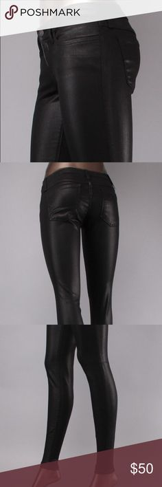 Flying Monkey Wax Denim L8313 An edgy coated finish lends sleek second-skin appeal to a pair of ultra-stretchy skinnies. Leg style - Skinny - Composition 42% Lyocell, 33% Cotton, 15% Rayon - Zip Closure - Mannequin is wearing a size 26. To maintain wax finish minimal hand wash or dry-cleaning is recommended. Made in the U.S.A Flying Monkey Jeans Skinny