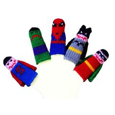 This set of 5 whimsical finger puppets makes it easy to take your child's imagination on the road. As he or she begins to experiment with dramatic play, these little friends are perfect for endless security lines and so many other travel hazards. Handknit in Utah by a family-run business, this set includes five superheroes for serious crime-fighting fun just about anywhere.