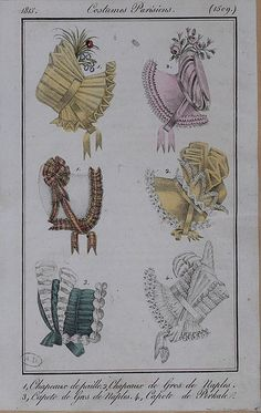 1815 Costume Parisien. 1. Hats of straw. 2. Hats of silk. 3. Bonnet of silk. 4. Bonnet of cotton.