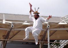 A gentleman performs jultagi, Korean tightrope-walking.