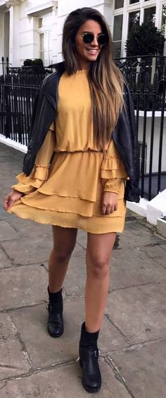 beautiful outfit idea _ black jacket + yellow dress + boots