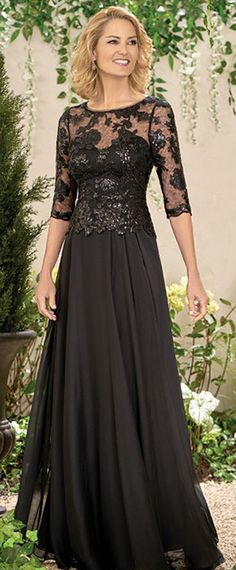 Modest Chiffon Jewel Neckline Full-length A-line Mother Of The Bride Dresses With Lace Appliques