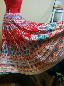 """Tribal Peasant Hippie Folk Skirt 100% Cotton Harold's Size M 4 Tiers Huge Sweep """