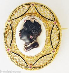 Antique French Blackamoor Carved Cameo Habille Brooch Gold Diamond Ruby
