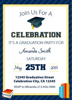 free printable graduation party invitations | graduation parties, Party invitations