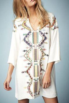 Embroidered V Neck 3/4 Sleeve Dress