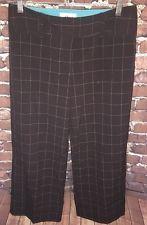 Juniors 7 IZ Byer California Brown Cropped Modern Plaid Dress Pants EUC Hipster