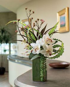 Cymbidium Orchid, Aloe & Budded Branch Silk Flower Arrangement