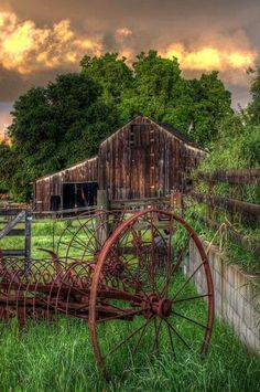 Rusted Old Old Hay Rake & Barn