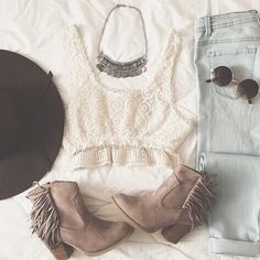 | Creme Colored Crochet Knit Crop Top | High Waisted Light Wash Denim Jeans | Taupe Fringed Ankle Booties | Brown Brim Hat | Silver Statement Necklace | Circular Sunglasses