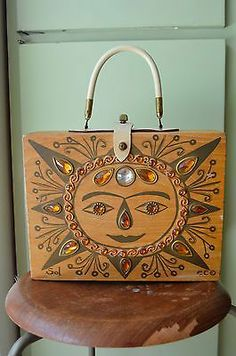 "Vintage Enid Collins Hand Decorated Wood Box Bag ""Sol"" 1964 | eBay"