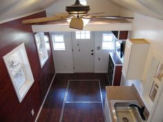 8x20 Crosswinds Tiny House Looking Down From Large Loft