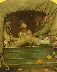 "Norman Rockwell ""Willie Gillis in Convoy"" 1941 oil on canvas http://www.sothebys.com/content/dam/stb/lots/N09/N09148/023N09148_7CLFP.jpg"