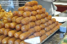 Tulumba أصابع زينب Known as Tulumba in Turkey this dessert is also famous all over the Middle East. In Arabic countries the dessert is called Asabe' Zeinab literally meaning Zeinab's fingers! These look great on a dessert buffet as well as served stacked on a cake stand. http://www.dimasharif.com/search/label/Middle%20Eastern%20Cuisine
