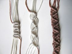 Macrame patterns. The article uses waxed cord but I'm sure the pattern could be used with other materials.