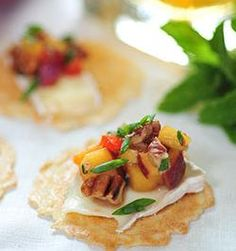 Brie with Peach, Bourbon #recipes #appetizers #34Degrees