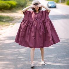 Summer Women Casual Round Neck Loose Elbow Sleeve Purple Dress