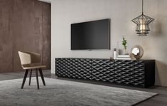 Cross TV unit by Borja García Studio - Mobenia Luxury Tv Cabinet Design, Tv Unit Design, Sofa Design, Furniture Design, Flat Interior Design, Ikea Living Room, Living Rooms, Home Decor Inspiration, Contemporary Furniture