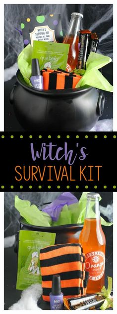 Witch's Survival Kit-Cute Gift Idea for Halloween. This is such a fun and festive gift idea. You can fill it with so many fun goodies. #halloween #gift #giftidea #witch Halloween Bunco, Halloween Mignon, Halloween Teacher Gifts, Halloween Gift Baskets, Holidays Halloween, Halloween Treats, Fall Teacher Gifts, Halloween 2020, Fall Gift Baskets