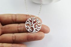 Personalized Family tree Jewelry Initial tree necklace