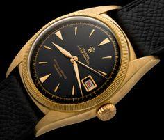 """Rolex- the Black """"Ovettone"""" ref 6105  #rolex #vintagerolex #watches #vintagewatches #mensstyle #mensfashion #gold #18kt"""