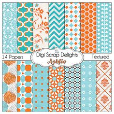 Digital Papers in Orange & Aqua for Digital by DigiScrapDelights   #aqua #orange #chevron