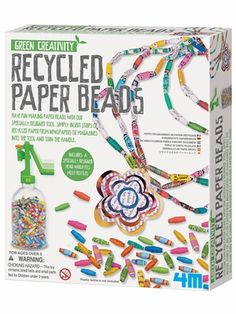 gift, idea, creativ kit, recycl paper, bead kit, papers, paper beads, bead green, green creativ
