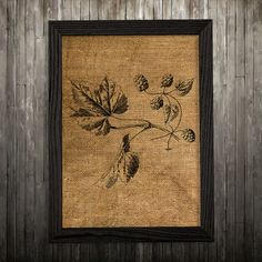 Leaf print. Burlap poster. Nature decor. Vintage print.  PLEASE NOTE: this is not actual burlap, this is an art print, the image is printed on art