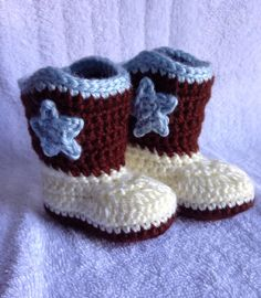 Crochet baby cowboy boots, newborn cowboy boots, baby gift b Crochet Boots, Crochet Baby Shoes, Crochet For Boys, Boy Crochet, Newborn Cowboy, Baby Cowboy Boots, Baby Shoes Pattern, Baby Shower Decorations For Boys, Baby Boy Shower