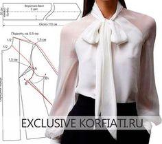Блузка с бантом и рукавом-реглан