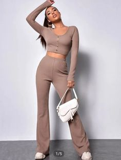 Women | Ribbed crop top with flared pants set. | Yaga SA All Fashion, Fashion News, Fashion Outfits, Womens Fashion, Ribbed Crop Top, Crop Top Outfits, Second Hand Clothes, Two Piece Outfit, Flare Pants
