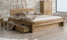 Lit 2 places avec tiroir en chene naturel Letto 180x200 Non avec 1 seul tiroir lit-bois