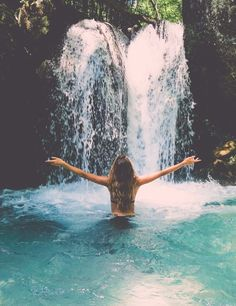 Hippie * Waterfall * Girl * Nature * Blue