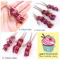 Bacon BFF Necklace Set - Glow in the Dark - Friendship Necklace - Realistic Food Fork Miniature Jewelry - Handmdade Pendant Friendship Gift from G Creations on Wanelo