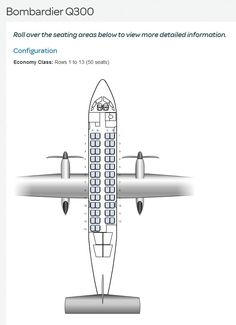 AIR NEW ZEALAND AIRLINES BOMBARDIER Q300 AIRCRAFT SEATING CHART
