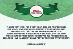 Thank you, Sharon and Andrew, for your wonderful comment on the work done by the Brands Tree Felling team. We appreciate your kind words! www.brandstreefelling.co.za #compliments #treefelling #treecare #brandstreefelling