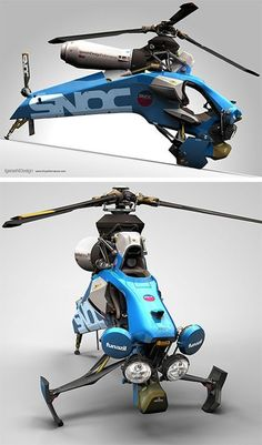 This Single Seat Helicopter Concept by Igarashi Design. It is small than traditional helicopter. Drones, Flying Vehicles, Flying Car, Transporter, Transportation Design, Concept Cars, Inventions, Cool Cars, Sci Fi