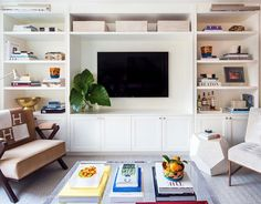 Living Room Built In Cabinets - Design photos, ideas and inspiration. Amazing gallery of interior design and decorating ideas of Living Room Built In Cabinets in living rooms by elite interior designers - Page 4 Built In Tv Cabinet, Built In Cabinets, Tv Cabinets, Living Room Built Ins, Living Room Tv, Built In Media Center, Bookshelves Built In, Bookshelf Wall, Billy Bookcases