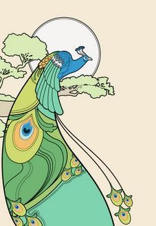 art deco peacock clip art - Google Search