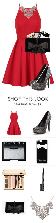 """""""Santa tell me does he really care?"""" by jackrabbit0823 ❤ liked on Polyvore featuring Chi Chi, NARS Cosmetics, Casetify, Smith & Cult and Ann Taylor"""