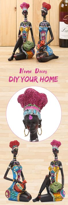 US$22.5Exotic African Tribal Woman Resin Figurine Creative Home Decor Statue#newchic#homedecor#house