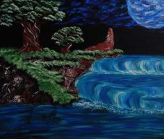 Wolf on a blue clouded night