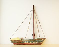 Green and brown  wooden  Greek sailboat two by AkatosCollectibles, $38.70
