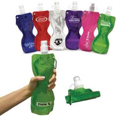 This convenient 19 oz. reusable sport bottle is environmentally friendly and saves you money wasted on bottled drinks. Ergonomic design stands upright when full, fitting most auto cup holders. Carabiner expands portability and holds the bottle in the folded position when empty. BPA-Free, temperature resistant polyethylene permits contents to be frozen and can later be cleaned in the top rack of your dishwasher. Patent Pending.
