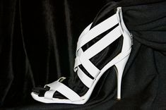 """Vintage 80s authentic Mauro Giuli signed Italian white patent leather 5"""" stiletto shoes sexy sandals zipper back pelle Italy stilleto heels available at etsy"""