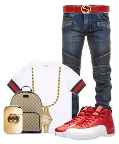"""Men's Gucci"" by officially-beautiful ❤ liked on Polyvore featuring Balmain, Gucci, NIKE, Rolex, men's fashion and menswear"