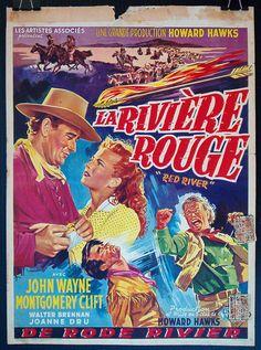 Red River original 1948 John Wayne western movie poster Belgian