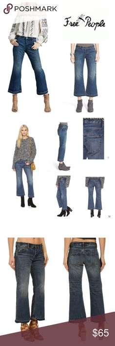 """Free People Crop Flare Jeans Free People Chelsea Crop Flare Jeans  Dramatic sanding and lived-in fading bring eye-catching definition to trendy blue jeans cut with cropped, released kick-flare hems for a cool throwback-inspired finish. Approx 26"""" inseam;  14-3/4"""" waist;  8-1/2"""" rise; Button fly.  Five-pocket style. 100% cotton. machine washable, tumble dry low.   (T1) Free People Jeans Ankle & Cropped"""