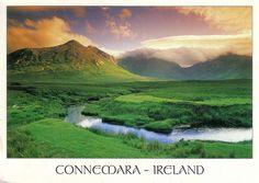 Connemara, Ireland- West of Galway, encompasses bogs, mountains, & rugged coastline. Named after Connemara Marble.