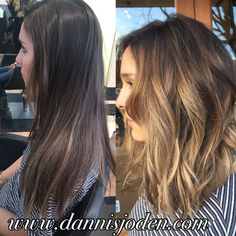 Long textured bob with a caramel balayage colormelt. Description from…